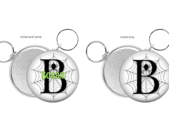 Custom initial Key chain favors. Halloween Party favors. spooky spider Keychain favors. Birthday party favors. Personalized favors