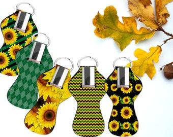 Sunflower Chapstick holder. Sunflower lip balm holder. Keychain lip balm holder. Sunflower lip gloss holder. Purse accessory favors
