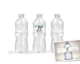 Set of 5 water bottle labels for 25th anniversary. Silver and green leaf water bottle labels. personalized water bottle labels.