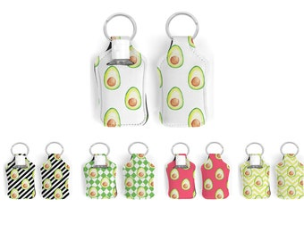 Fun Avocado hand sanitizer holder with key ring for mini hand sanitizer bottle of 30ml in five beautiful background colors