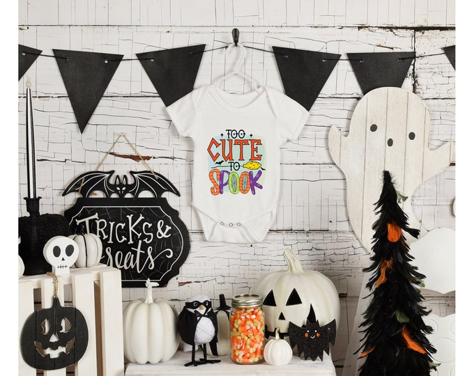 Featured listing image: Halloween baby onesie for boy or girl. Halloween baby body suit. Halloween gift for baby