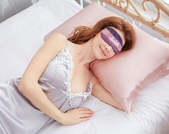 Personalized Eye mask. Dusk rose eye mask. Sleeping eye mask. Burgundy Pink Eye mask.  Silk cover eye mask with Adjustable strap