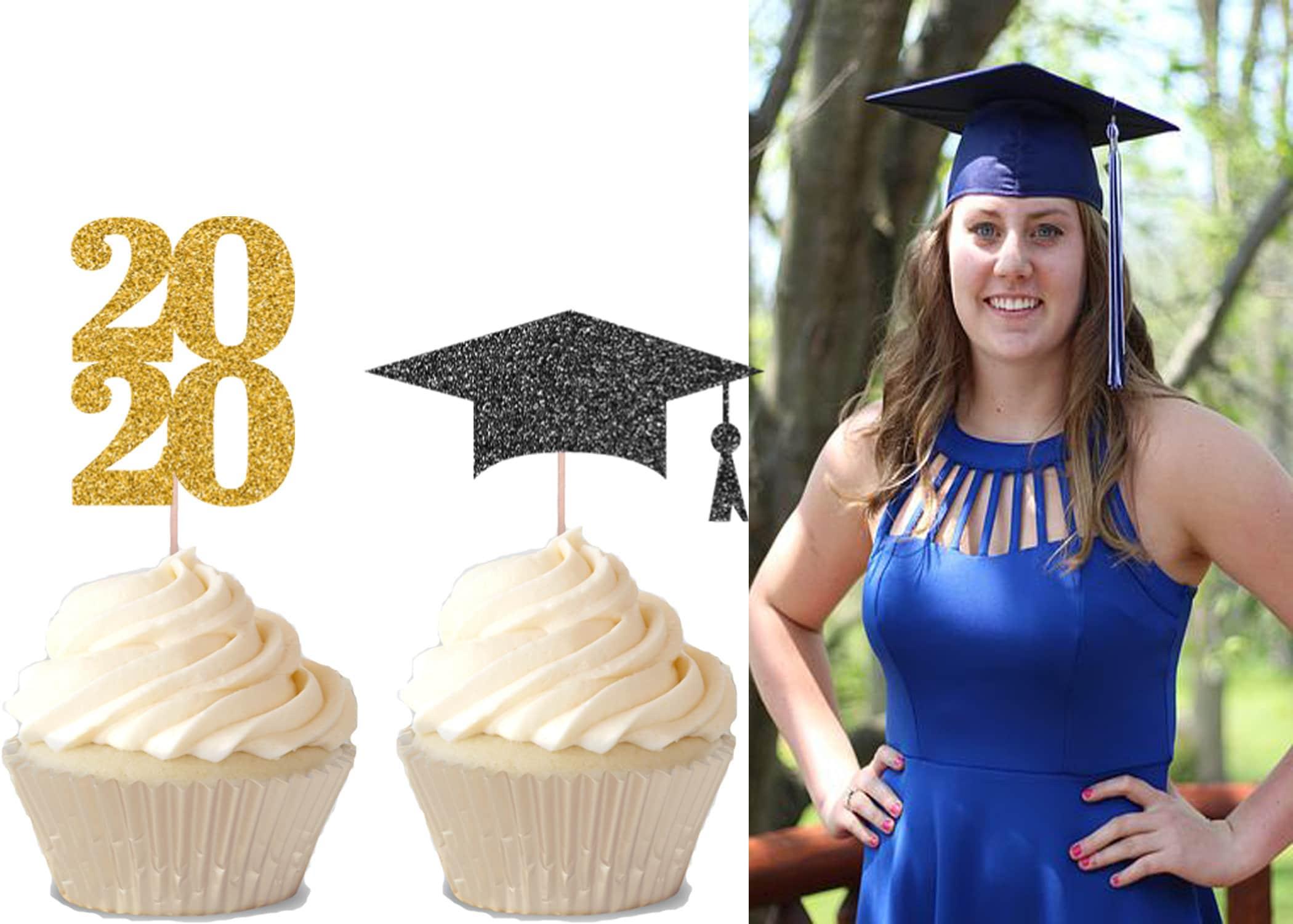 Grad Party Decor Graduation Glitter Cupcake Toppers Personalized Graduation Graduation Party Grad Cupcake Toppers Set of 12