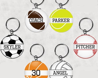 Custom sport Key chain favors. Party favors.Sport Keychain.Birthday party favors.Baseball.Basketball.Soccer.Tennis.Football.Volleyball.