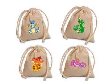 Personalized Dragon bags for favors or treats.  Custom fire dragons birthday and party bags for treats or favors.