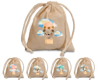 Animals in air balloons favors bags.  Baby shower favor bags. Baby birthday treat bags. party treat bags. party favor bags.