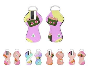 Sushi Chapstick holder. Sushi lip balm holder with key ring. Sushi lip gloss holder for bag or keychain.