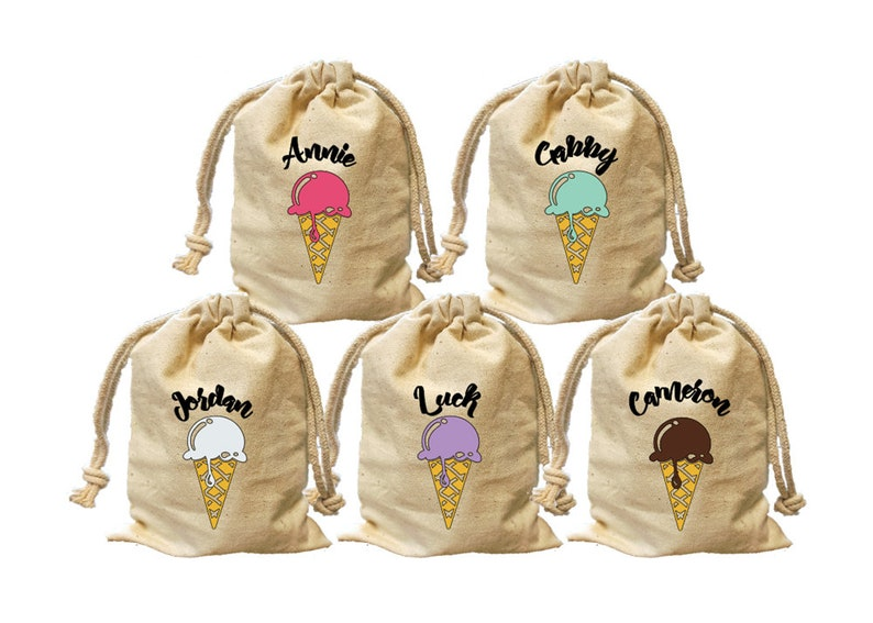 Ice cream theme birthday party favor bags  Personalize party goody bags   Custom candy treat favor bags  Ice cream cone party bags  gift bag
