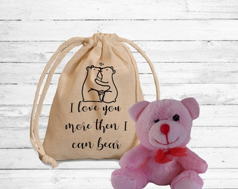 I love you more then I can bear gift set. Cute Stuffed teddy bear and matching custom bag. Personalize Teddy bear gift. Valentine gift