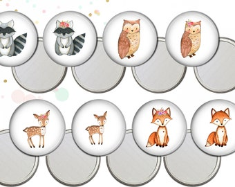 Woodland animal baby shower favors. Personalized compact mirror. Custom pocket mirror. baby shower woodland favor. Custom compact mirror