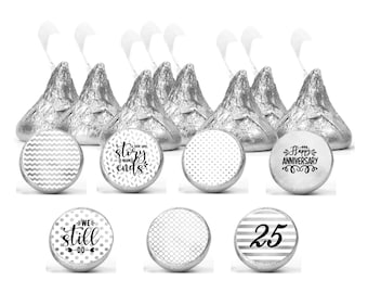 Set of 108 Silver anniversary stickers for Chocolate kisses. 25th anniversary labels. Anniversary favors labels.