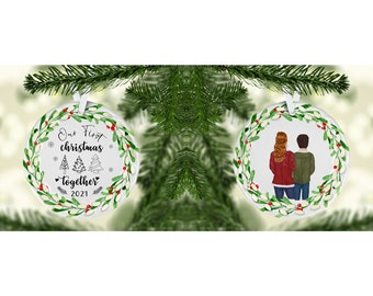 Personalized couple ornament. Couple Christmas ornament.  Custom ornament. Personalized ornament. Couple photo ornament. Wreath ornament