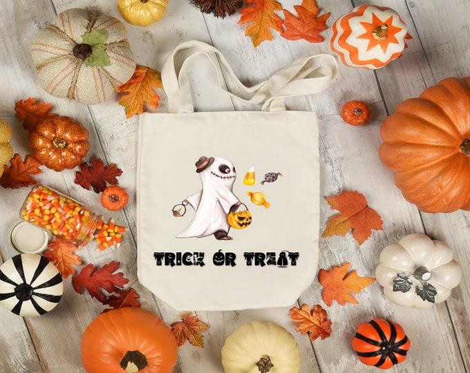 Featured listing image: Trick or treat bag. Halloween tote bag. Halloween trick or treat bag. Personalized candy tote bag. Custom tote bag. Kids Halloween bag