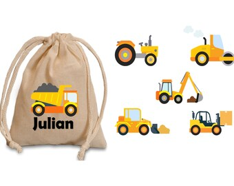 Construction party favor bags. construction trucks. Construction birthday. Party favors. Boy birthday favors. Construction favor bags