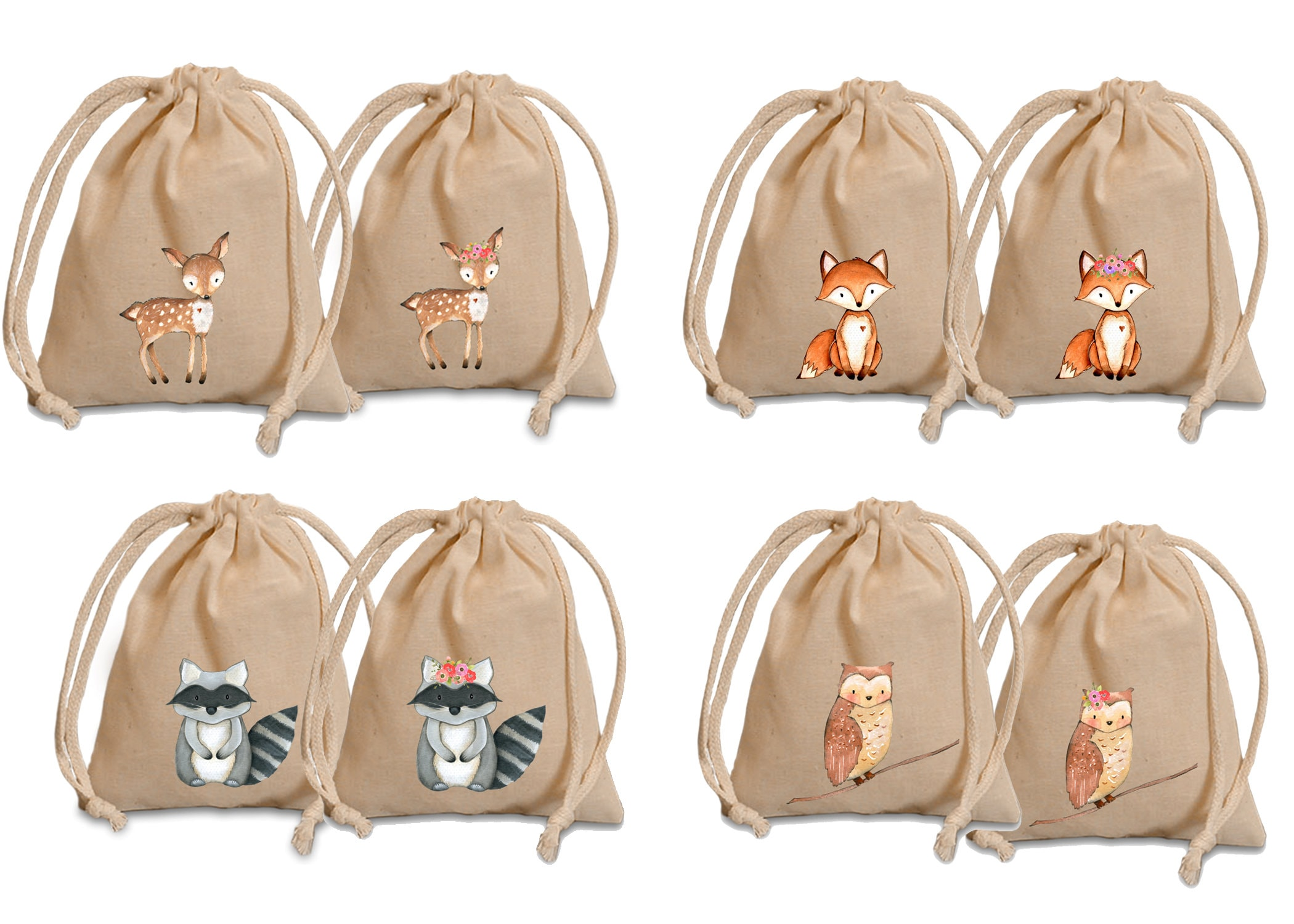 Woodland Favor Bags Baby Shower Favors Personalized Favor