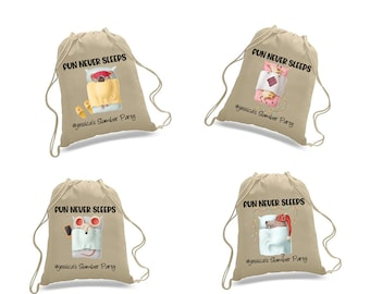 Gift bags for slumber party. Slumber party bag for favors. Gift bags with names. Backpack gift bag. draw strings backpack