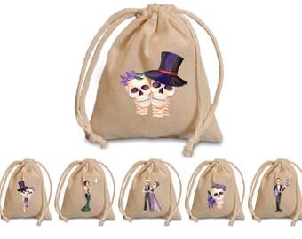 Halloween party favors bags.  Skeleton favor bags. Halloween party treat bags. Halloween party treat bags for adults. party favor bags.