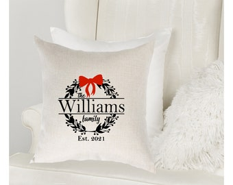 Personalized family pillow case. Wreath family pillow cover. Personalized holiday home decor. Gift for home. Double sided pillow case
