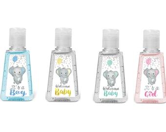Set of 20 Babe elephant mini hand sanitizer labels. Elephant baby shower hand sanitizer labels. Baby Birthday favors hand sanitizer labels.