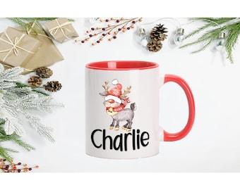 Personalized Christmas mug. Christmas mug with name.  Handle colored mug. Hot chocolate mug. Christmas gift. 11oz or 15oz mug