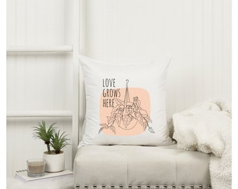 Plant inspirational pillow case. Personalized plant pillow case. White square Double sided pillow cover.