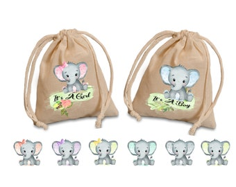 Baby Elephant favors bags.  Baby shower favor bags. Baby birthday treat bags. Elephant party treat bags. party favor bags.