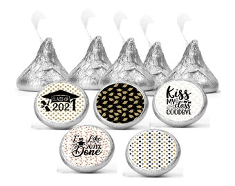 Set of 108 graduation stickers for Chocolate kisses. 2021 graduation labels. Graduation favors labels.