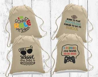 Back to school gift. Kids back to school drawstring backpack. Backpack gift for student.First day of school gift. Personalized school gift