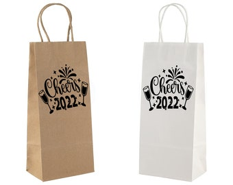 New year Paper Wine bag. Wine gift bag. Cheers 2022 wine bag. Happy new year Wine gift. Custom wine bag. Wine bottle bag. Paper Bag for wine