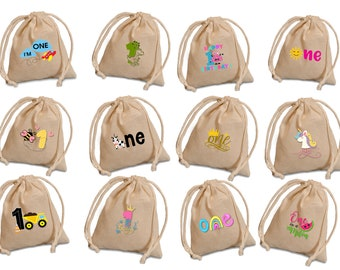 Personalized first birthday favors bags.  Choose  your baby's first birthday theme and customize this favor bags for your guests.