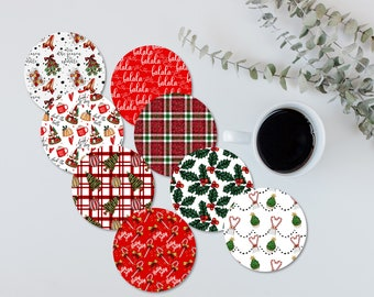 Christmas coasters. Holiday coasters. Hostesses gift. employee holiday gift. customer holiday gift