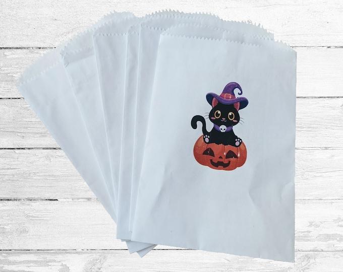 Featured listing image: Set of 6 paper treat bag. Halloween cat treats for kids. Halloween treats for school. Paper treat bags. Treat bags Halloween