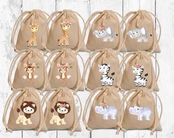Safari favor bags. Baby shower favors. Personalized favor bags. Safari Party favors. Safari baby shower decoration. Safari birthday