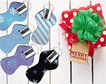 Frozen inspired lip balm holder with keyring. Winter party favor. Snowflake Chapstick holder. custom Lip gloss holder