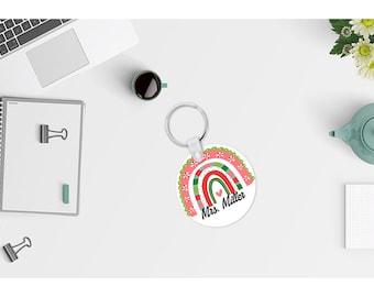 Personalized Christmas rainbow keychain gift for teacher. Teacher key chain. Teacher Christmas gift Christmas rainbow key chain.