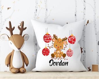 Personalized Christmas pillowcase. Custom reindeer pillow cover. Christmas nursery decoration. Reindeer nursery decoration