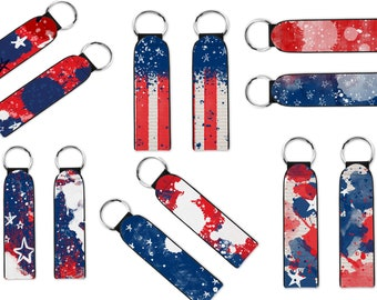 Red White and Blue lanyard keychain. Red White & Blue patriotic keychain. Wristlet Key Fob. Wrist Keychain. Strap Key Chain