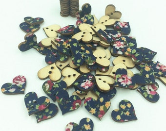 30 x wooden blue floral hearts 2 holes
