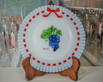 "MacBeth Evans Monax Petalware Red Ribbon Moscato Berry / Grape 6"" Salad Plate Milk Glass"