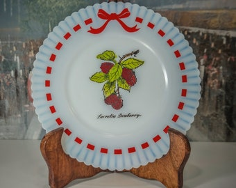 "MacBeth Evans Monax Petalware Red Ribbon Lucretia Dewberry 6"" Salad Plate Milk Glass Active"