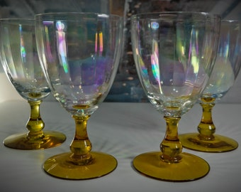 Set of 4 Iridescent Clear and Amber Stemmed Wine / Water Goblets
