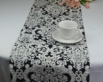 Black And White Table Runner | Damask Table Runner | Holiday Table Decor |  13 X 72 Inch Table Runner