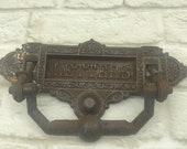 Antique Archibald Kenrick letterbox plate with knocker iron genuine Victorian