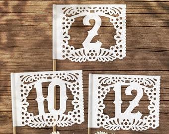 Papel Picado Table Number Flags - Papel Picado Suite -
