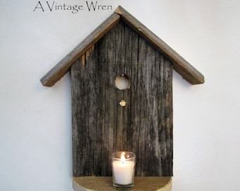 Rustic Bird House/ Wooden Wall Art/ Candle holder/ Rustic Shelf