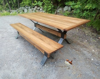 Industrial Farm table/Wood and Metal Table/modern industrial