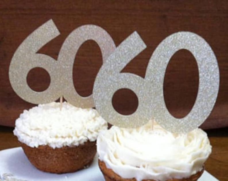 60th Birthday Party Ideas Cupcake Toppers Gold