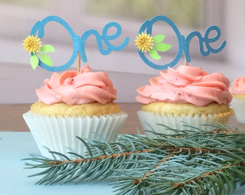 First Birthday Flower Cupcake Toppers
