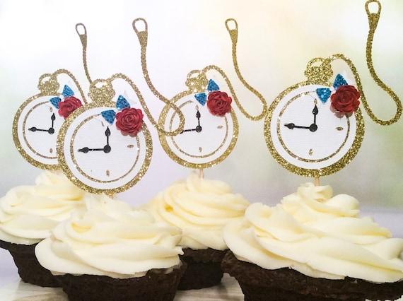 Alice In Wonderland Stopwatch Cupcake Topper Alice In Wonderland Birthday Decorations Birthday Ideas Birthday Cupcake Toppers 6ct