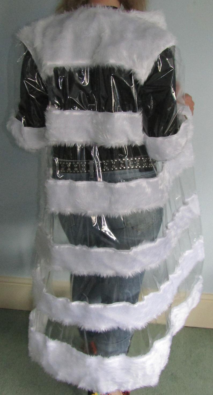 Vinyl PVC /& Faux Fur Long Transparent Coat ONE ONLY
